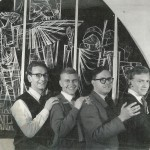 A 1960 photograph of Faith-Craft Designers with from our left to right John Hayward, Terrance Randall, Francis Stephens and Gordon Beningfield