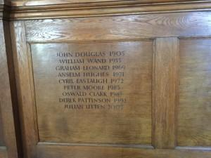 Principal's names in the Douglas Room
